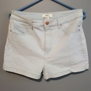 Two denim high waist short light wash
